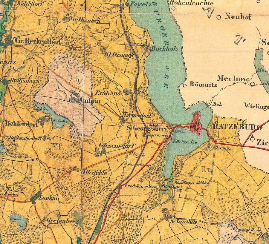 Ausschnitt einer Karte aus dem Jahr 1852